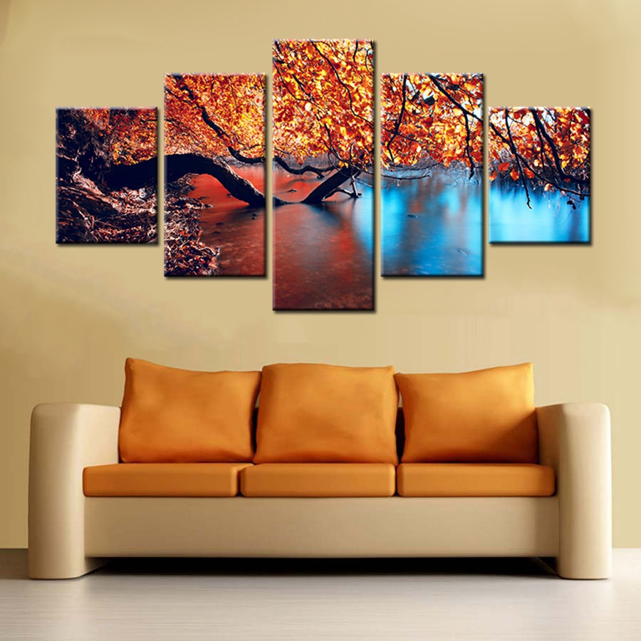 Autumn Scenery Landscape Fall Leaves lake Picture Wall Art Prints ...