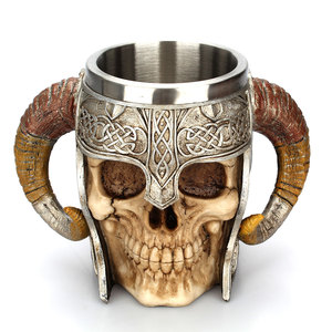 Image 2 - Stainless Steel Skull Mug Viking Ram Horned Pit Lord Warrior Beer Stein Tankard Coffee Mug Tea Cup Halloween Bar Drinkware Gift