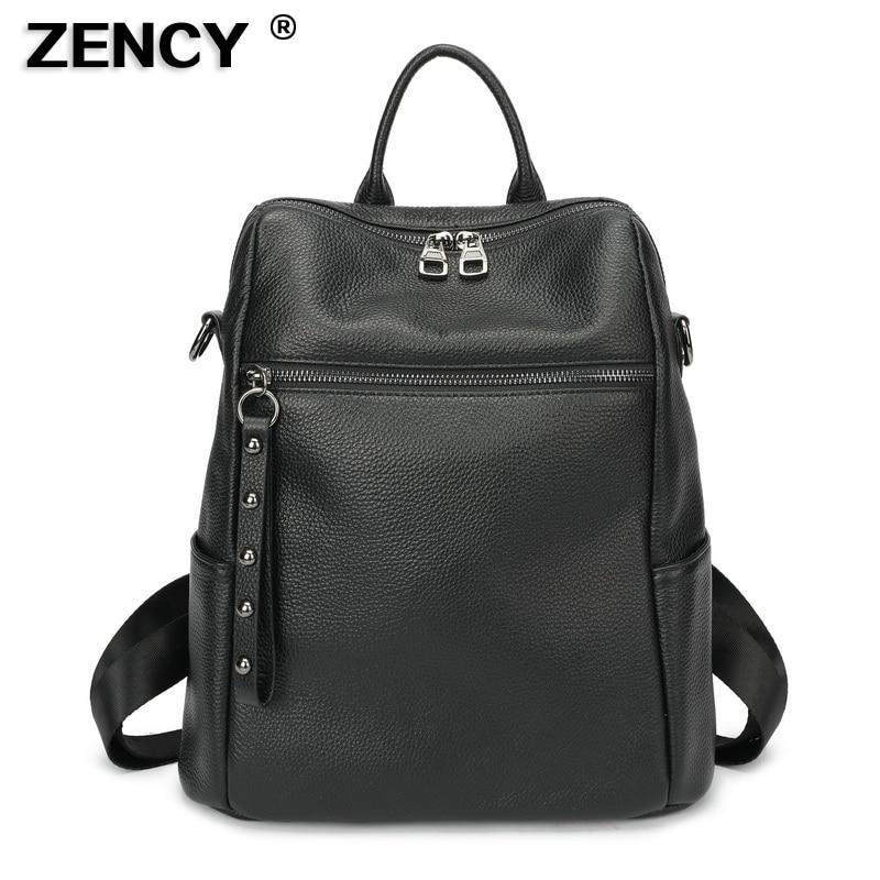 ZENCY 100 Soft Natural Genuine Cow Leather Shoulder Travel Women Backpack Female Ladies Real Cowhide Bag