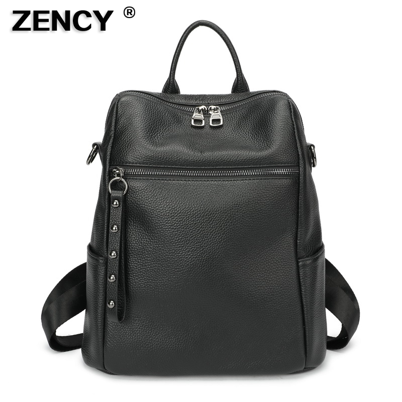 ZENCY 100% Soft Genuine Cow Leather Black Hardware Shoulder Travel Women Backpack Female Lady Real Cowhide Bag Casual Backpacks