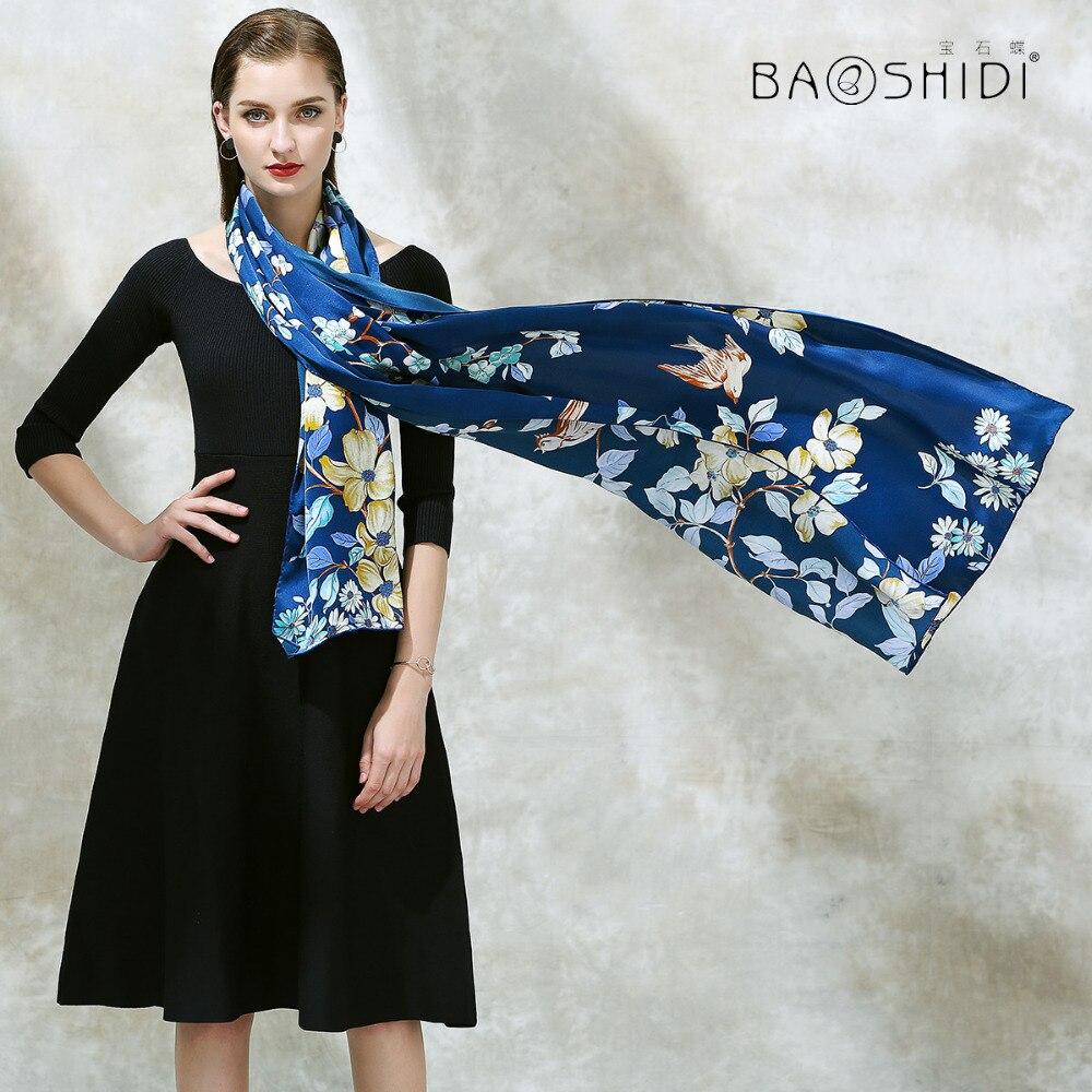 BAOSHIDI 100 Silk Long Scarf 2017 Women New Arrival Silk satin Fashion Shawl Luxury Brand