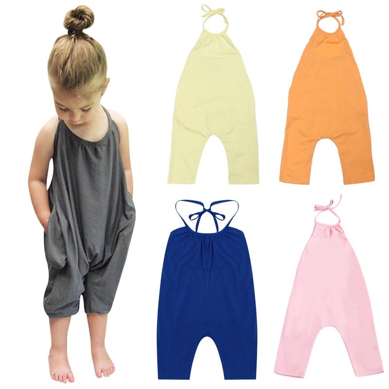 Új övfüggöny Összesen lányok nyári ruhája laza Harem egyrészes Jumpsuit szilárd alkalmi összecsukható öltöny 1-7 éves lányoknak