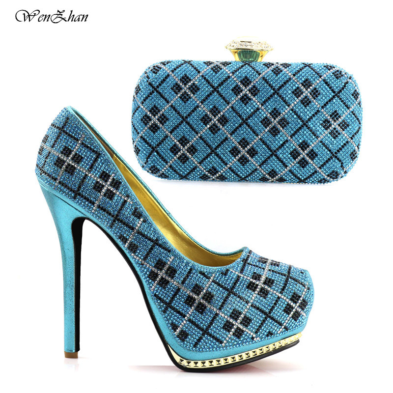 WENZHAN Sky Blue High Heel Shoes And Clutch Bag High Quality Matching Italian Shoes and Bag Set Decorated With Rhinestone C81-26 wenzhan latest shoes matching bags lemon green flannelette material for wedding high heel shoes with appliques bag hot a711 28