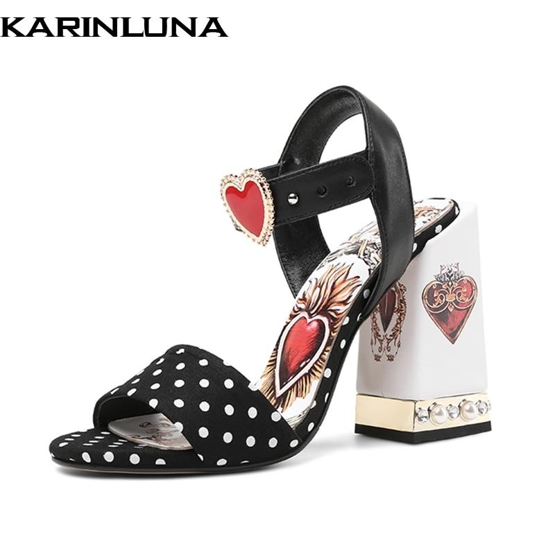 Karinluna 2019 plus size 43 brand design genuine leather sheepskin party women Shoes Woman sexy heart high heels summer sandals