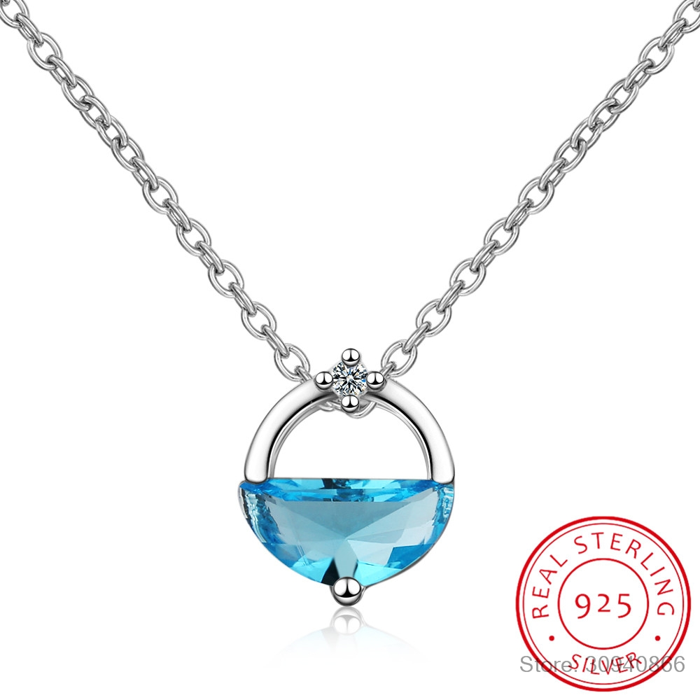 Round Shaped Simple 925 Sterling Silver Short Clavicle Chain Necklace Hollow Circle Dazzling Zirconia Pendant Necklace S-N201