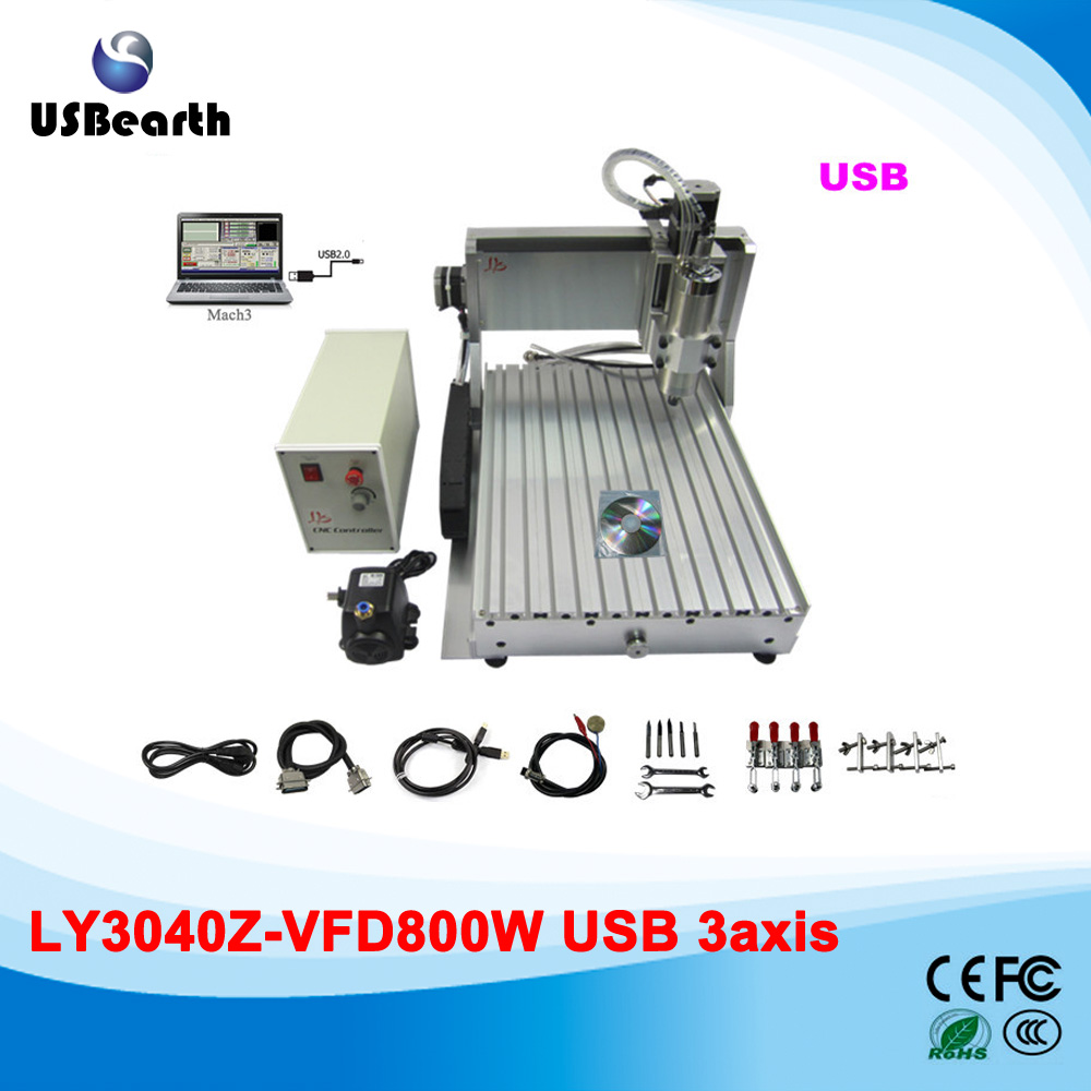 USB port 3 axis CNC router 3040 woodworking engraving machine 800W spindle with ball screw, free tax to EU country  free dhl ft high speed 3 axis 800w affordable cnc router with parellel port precision drilling machine for woodworking 6090