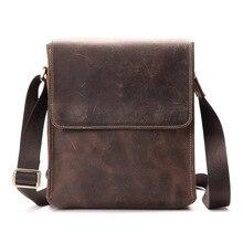 Messenger Bag Men Genuine Leather Real Cow Flap Removable Vintage Designer Handbag