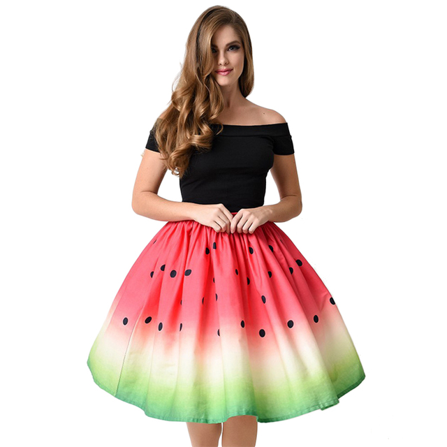 Autumn Summer Women Preppy Style Printing Watermelon Midi Skirts Casual Ball Gown Skirt