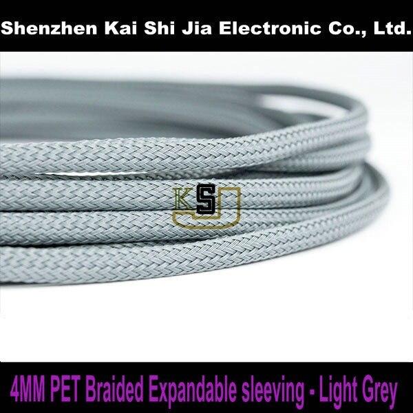 200 Meters X4mm Light Grey Round High Density Sleeving PET Braided ...