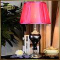 Fashion Beautiful Desk Table Lamp For Bedroom Wedding Decoration Bedside Living Room Lighting Red Fabric Lampshade 110V/220V