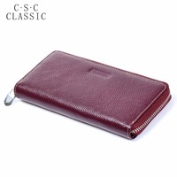 Long Wallet Womens Wine Red Real Genuine Leather Zipper Wallets Women Clutche Female Ladies Purse Coins