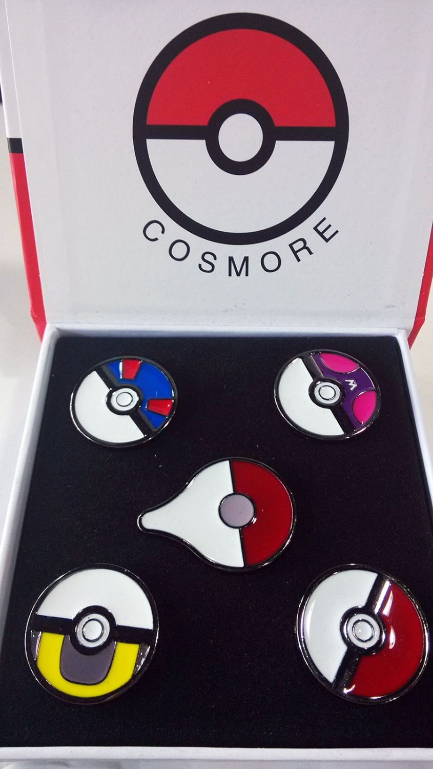 5pcs Game Pokemon GO Pokeball Ultraball Masterball Kanto Metal Badges Cosplay Collection Pins+Box Gift For Adult Kids