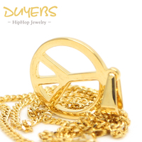 DUYEBS Peace Sign Pendant High Quality Titanium Steel 60cm Gold Color Long Chain Fashion Statement