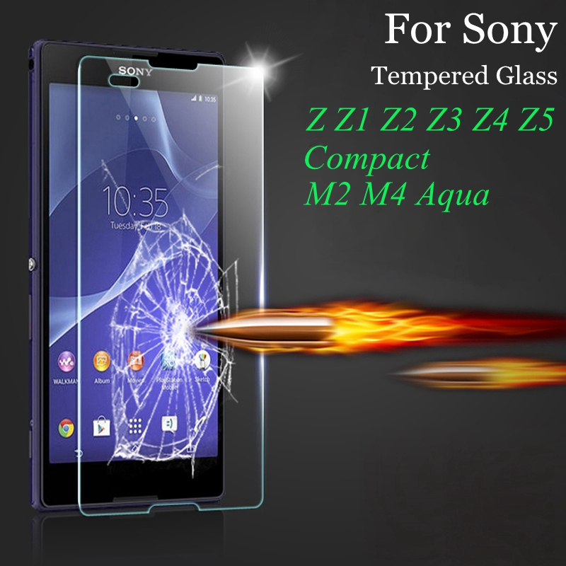 9H 0.3mm Tempered Glass For Sony <font><b>Xperia</b></font> Z Z1 Z2 <font><b>Z3</b></font> <font><b>Z3</b></font>+ Z4 Compact Z5 Plus M2 M4 Aqua Screen Protector Protective Film Case <font><b>Cover</b></font>