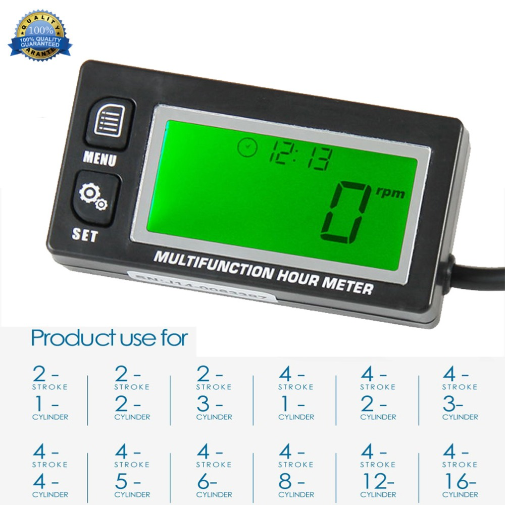 Digital Inductive Gasoline Engine 2 & 4 Stroke Functional Hour Meter Tachometer Maintenance Reminder Counter Meter RL-HM028