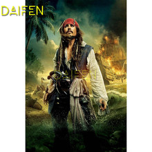 Full Round Diamond embroidery Cross stitch  3D mosaic captain Jack Square painting Pirates of the Caribbean