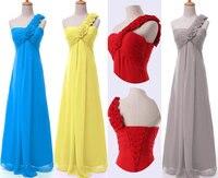 2014 New Fashion Sexy Silk Chiffon Flower One Shoulder Bridesmaid Formal Dress Wedding Party Gown Custom