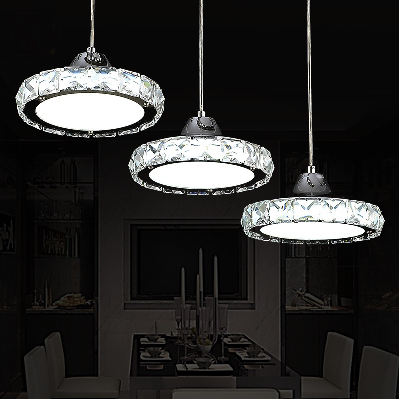 Restaurant pendant lights crystal lamp three round LED dining table kitchen living room bar ceiling lamp