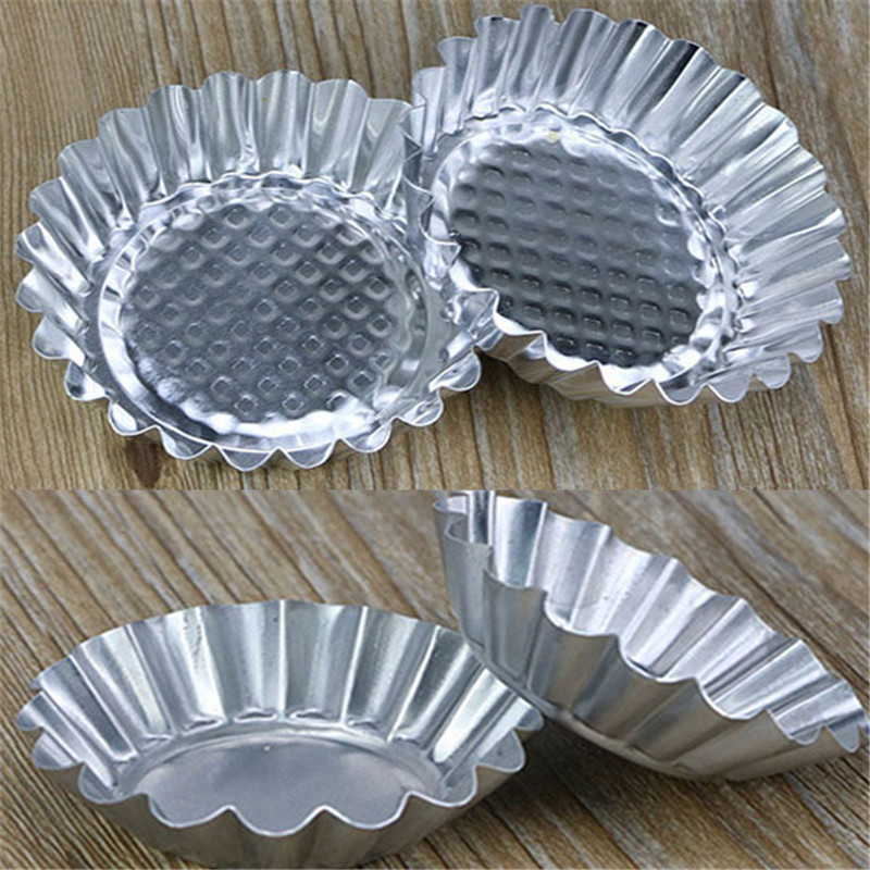 Image 2 - 20Pcs/LOT Egg Tart Aluminum Cupcake Cake Cookie Mold Pudding Mould Tin Baking Tool P0.21-in Cake Molds from Home & Garden