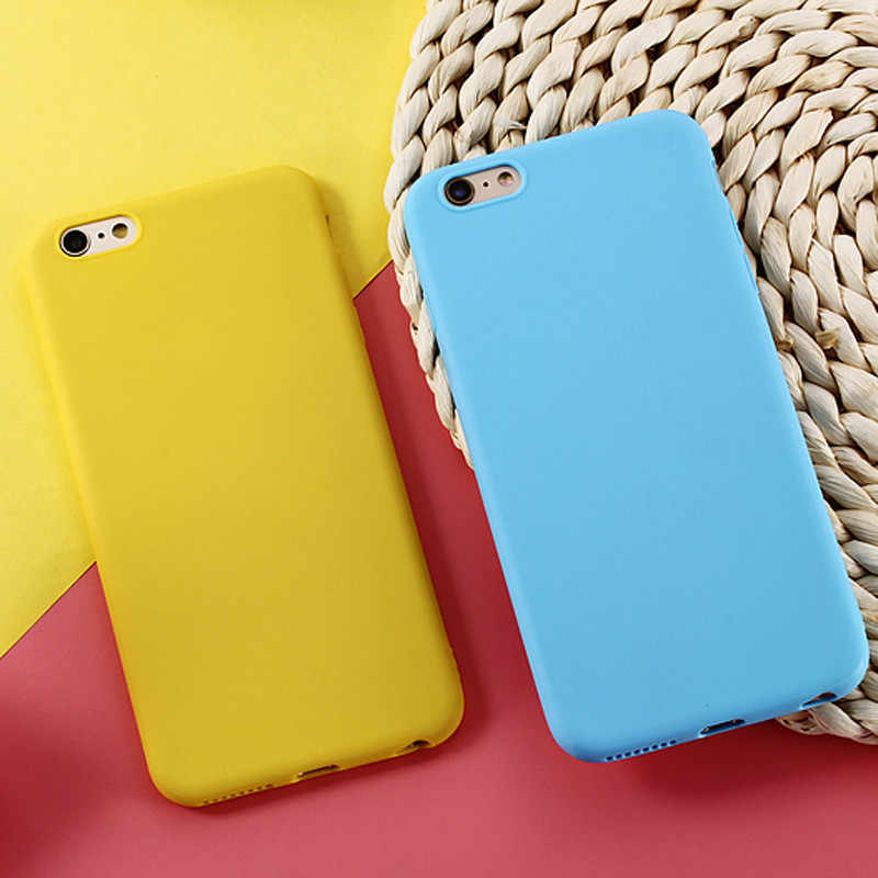 Matte Candy Phone Case For iPhone 7 Case 6 6s 8 Plus 5 5s SE Simple Solid Color Soft TPU Case Back Cover For iPhone XS MAX  XR X