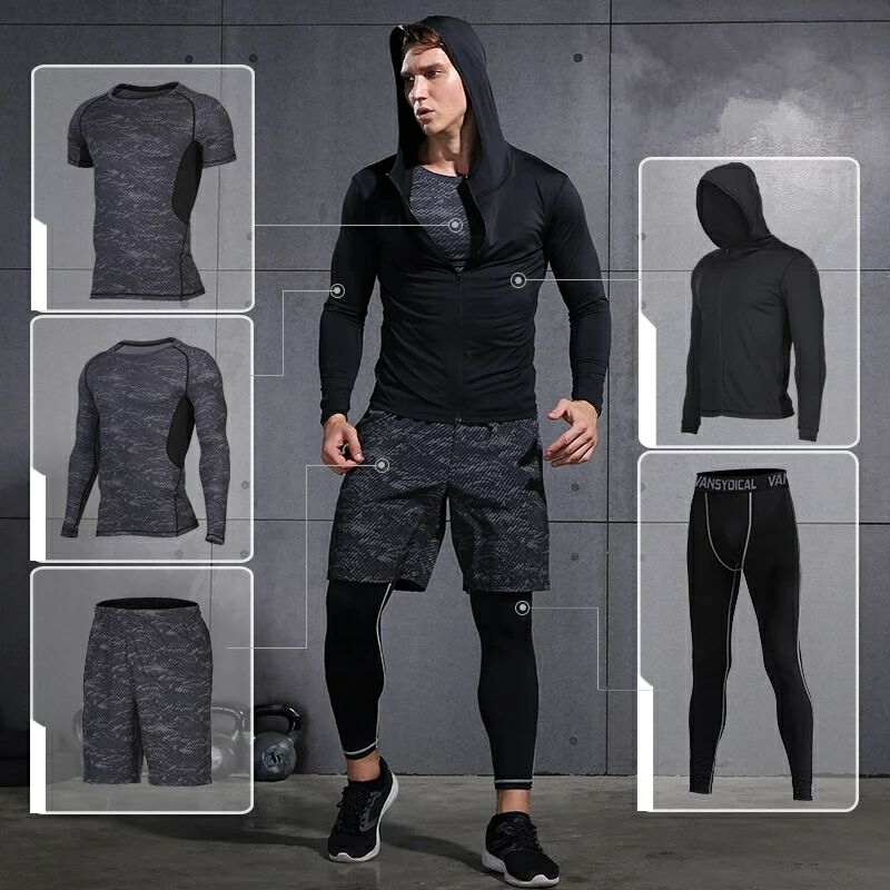 Quick Dry Men Running Set Compression Basketball Sport Suit Gym Soccer Fitness Running Training Suit Men Jogging Set 5pieces/set