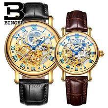 Montre femme reloj automático amantes de las señoras relojes de las mujeres vestido de los hombres relojes de pulsera de cuero de moda binger relojes de los pares de oro
