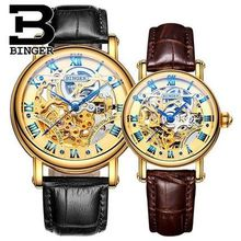 Montre Femme Automatic Watch Ladies Lovers Watches Women Men Dress Watches Leather Wristwatch Fashion Binger Couple Watches Gold