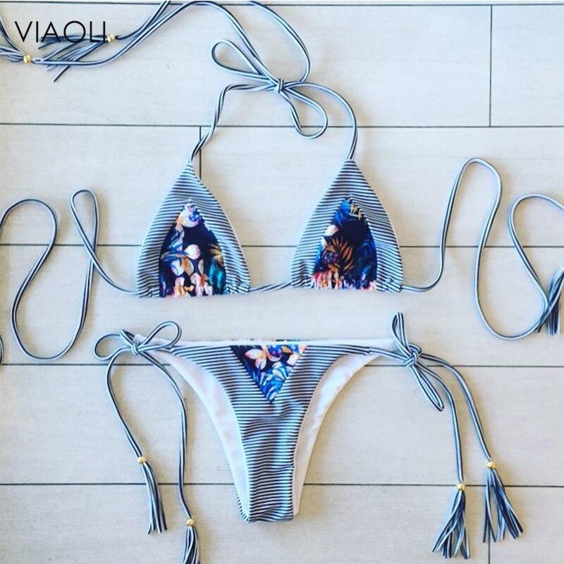 New Bikinis Women Swimsuit Summer Tops Beach Wear Bikini Set Push Up Swimwear Bandage Bathing Suit Tassel Printed Swimwear Set
