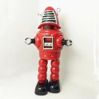 Adult Collection Retro Wind up toy Metal Tin The bullet robot Mechanical toy Clockwork toy figures model kids christmas gift