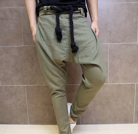 2017 Moda Coreano Estilo Punk Dos Homens Harem Pants calças de Linho dos homens Calças de Linho Soltas Calças Virilha Pendurado Calças