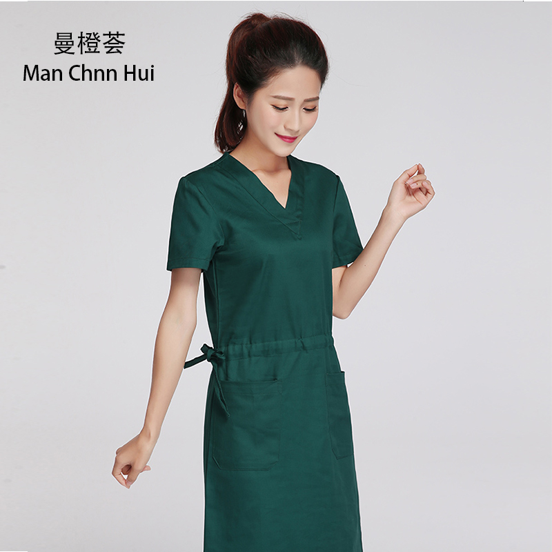 Surgeon Operating Room Robe Health Care Hospital Dresses Wrapped Medical Scrub Coat Overlapping Side Tie Cotton Surgical Uniform