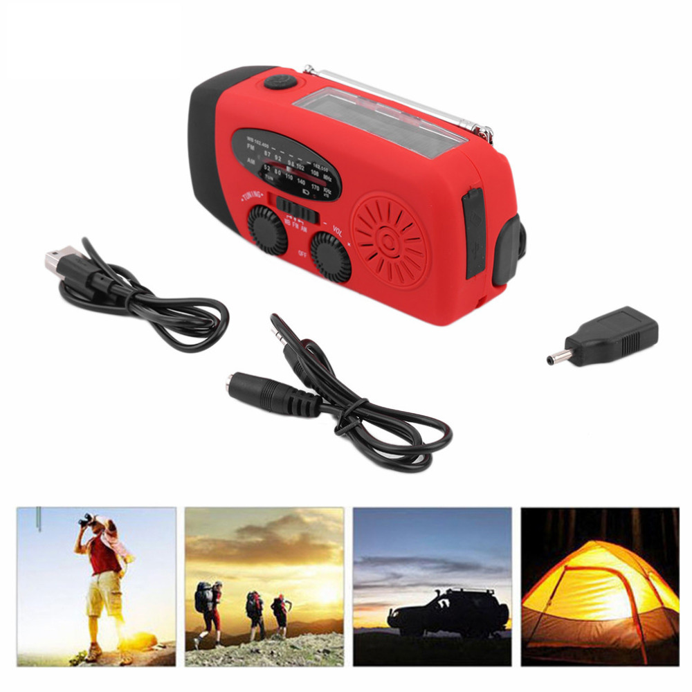 Emergency Hand Crank Generator AM-FM-WB Compact Compact Radio powerful 3 LED flashlight for Outdoor