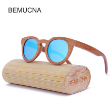 2017 New BEMUCNA Wood Sunglasses Polarized Sunglasses  Women Cat Eye real Bamboo Wood Eyewear Mirror Lenses  Wood Sun Glasses