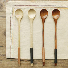 Ретро длинная ручка деревянная чайная и кофейная ложка для приготовления пищи столовая утварь, столовые приборы из дерева T719