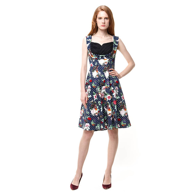 e4564cdfae70 Womens Summer Style Floral Print Dress Vintage Pinup Retro 50s 60s  Rockabilly Ball Gown Swing Dresses 1183