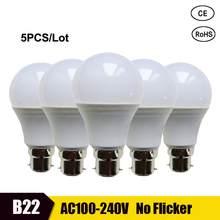 Lâmpada led de baioneta 5 peças, branco brilhante 21w 18w 15w 12w 9w lâmpadas de economia de energia 6w 3w, 110v 220v, iluminação interna