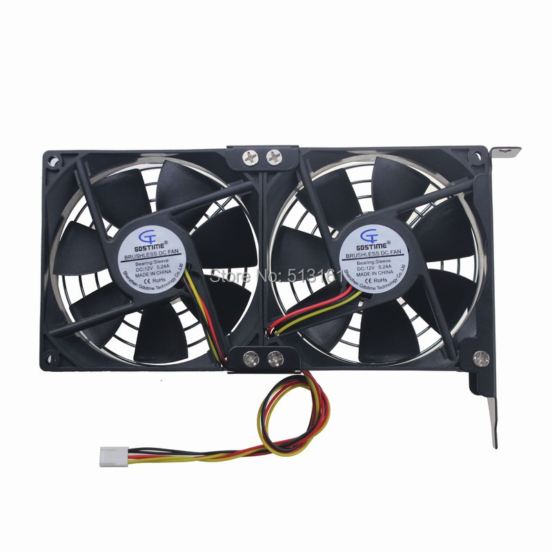 Gdstime Dual Fan 92mm CPU Cooling Heatsink Ultra-quiet Desktop Computer Chassis PCI Graphics Card Cooler 9cm 2pcs computer vga gpu cooler fans dual rx580 graphics card fan for asus dual rx580 4g 8g asic bitcoin miner video cards cooling