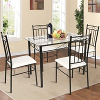 5 Pcs Tempered Glass Steel Tabletop Dining Set Modern Table and Chairs Dining Room Sets HW52015