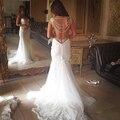 Sexy Beach Vintage Wedding Dresses 2016 vestidos sin espalda con cuentas de perlas Whit marfil bohemia Bling vestidos de novia más el tamaño champán China