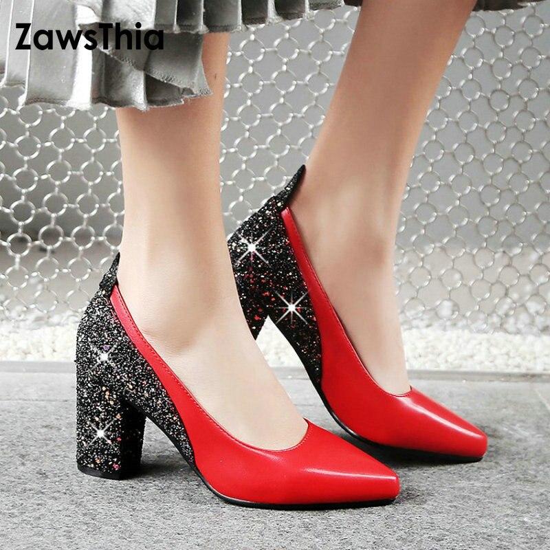 ZawsThia 2019 patent PU point toe chunky block high heels glitter bling woman pumps shoes stiletto wedding party shoes women