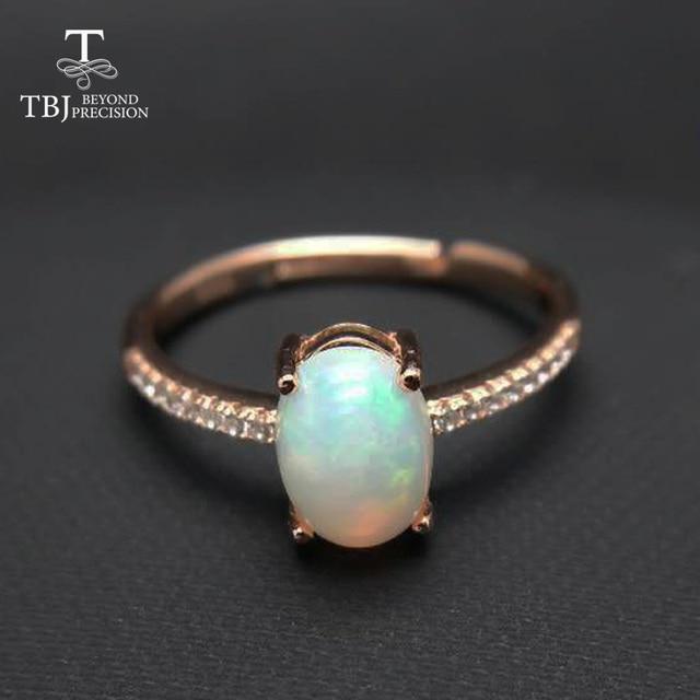 TBJ,100% natural ethopian opal ov6*8 gemstone ring in 925 sterling silver precio