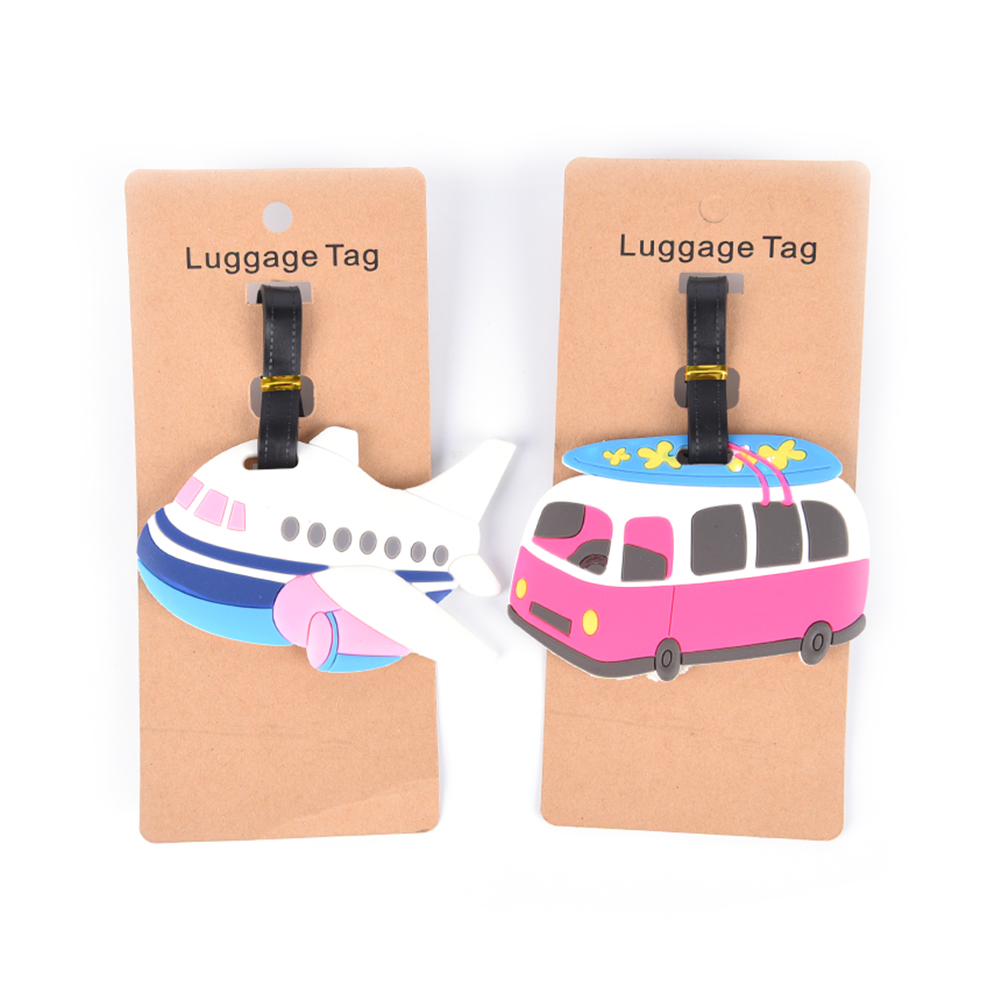 Travel Accessories Luggage Tag Cartoon Aircraft Car Silica Gel Suitcase ID Address Holder Baggage Boarding Tag Portable Label