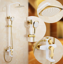 2017 NEW type Polished Golden & white Shower set Wall Mount Bathroom Rainfall Faucets dso505