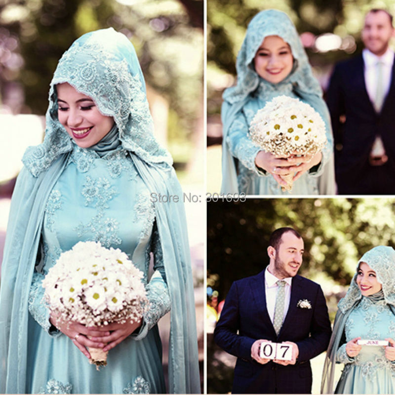 Oumeiya OWD807 A line Tulle Chiffon Beaded Lace Appliqued Aqua Green Long Sleeve font b Hijab