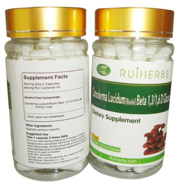 2 botellas de Reishi Extracto 30% Beta Glucano Cápsula 500 mg x 180 unids mejora la resistencia contra las enfermedades