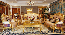 high quality European style antique vintage comfortable and soft living room sofa set