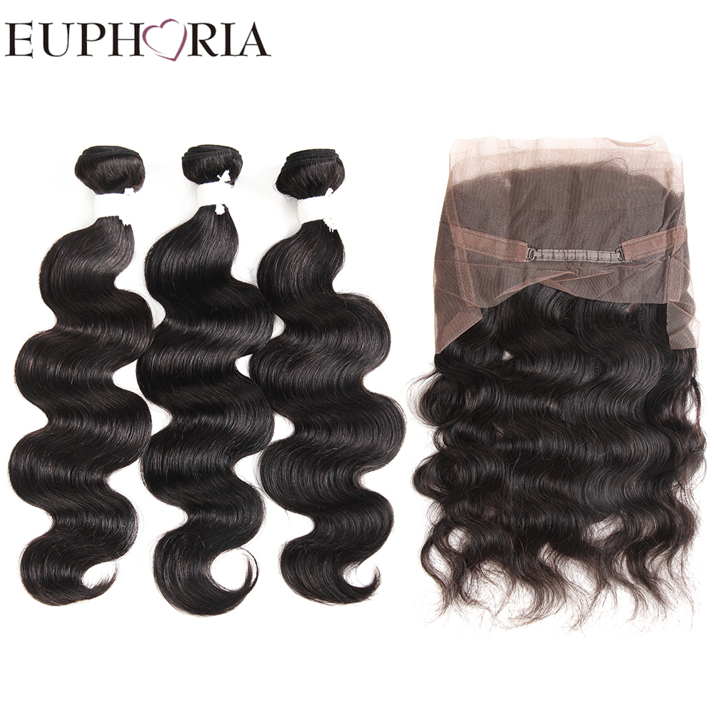 EUPHORIA 360 Lace Frontal Closure With 3 Bundles Brazilian Remy Body Wave Human Hair Weaves With Frontal 4pcs/lot For Hair Salon