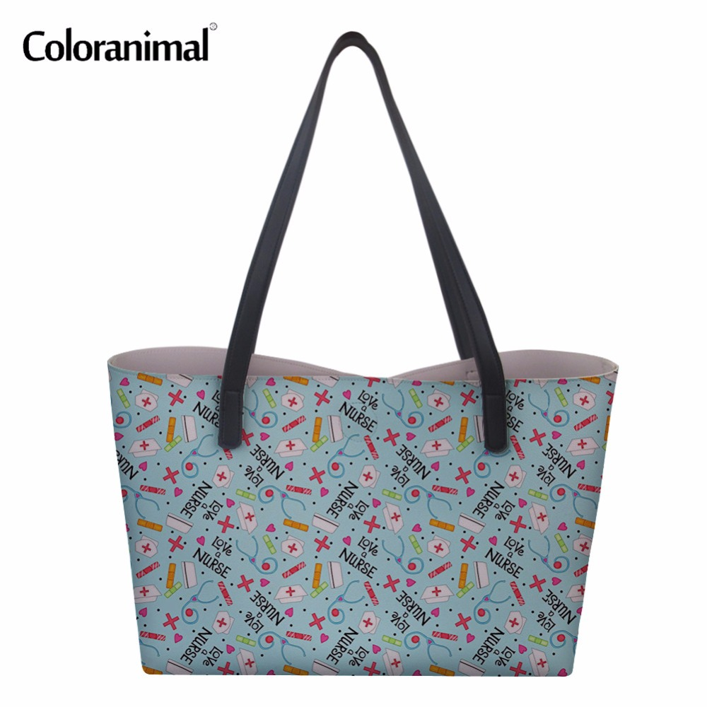 Coloranimal Cute Nurse Love Purple Design Bolsa Feminino Casual Women Handbags Shopping Bags Nursing Shoulder Bag Large Tote Bag