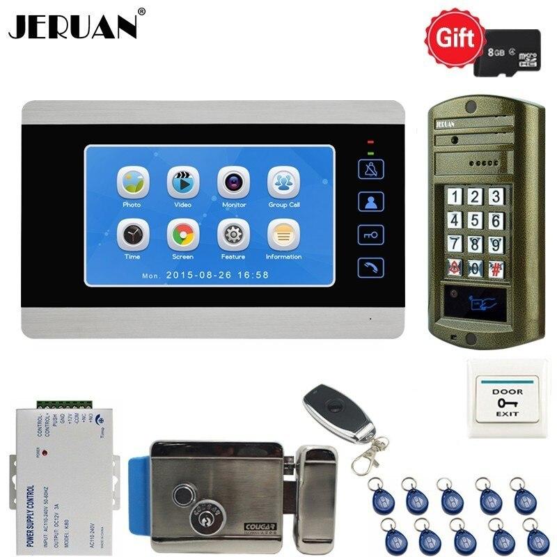 JERUAN 7 Inch Video Doorbell Door phone Voice Video Recording Intercom System kit With Metal Waterproof