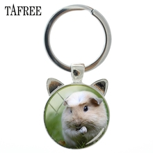 TAFREE Guinea Pig Keychain Personalized Key Chain Keyrings Gifts Round With Ear Shape Ring Car Bags Women Cute Jewelry QF800